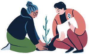 Drawing of two people kneeling and planting a seedling