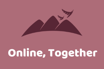 Light red image with dark red mountain and bird PMRC logo with white text reading Online Together