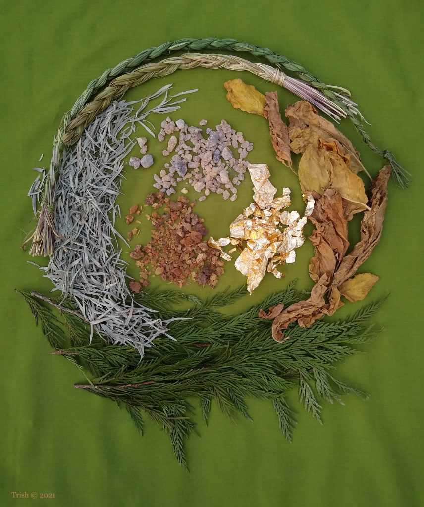 Epiphany – Gifts of the Wise Men and Gifts of the Spirit. Clockwise from right: Tobacco, Cedar, Sage, Sweetgrass, Gold, Myrrh and Frankincense. ©Trish 2021
